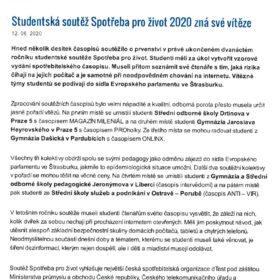 Studentská soutěž Spotřeba pro život 2020